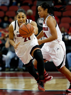 Louisville's Bria Smith hustles to the loose ball before anyone else. Nov. 25, 2014