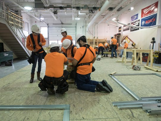 With materials from Lowe's, several carpentry students