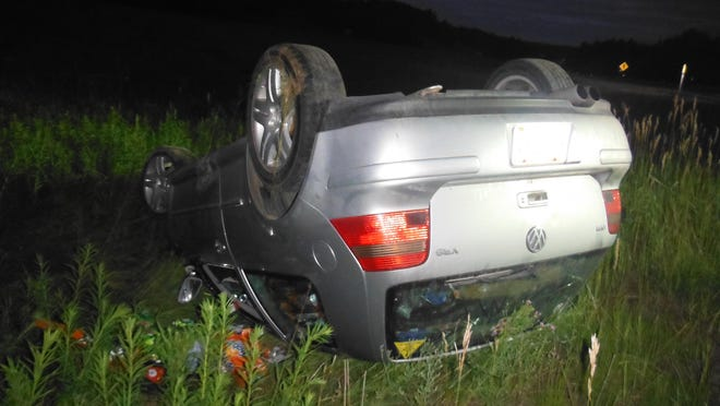 The driver of this vehicle, a 27-year-old from Cheboygan, received minor injuries in the rollover accident. He was transported to Otsego Memorial Hospital in Gaylord, where he was treated for his injuries. Contributed photo