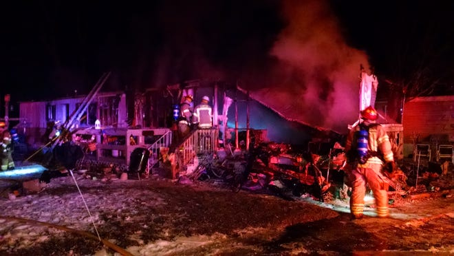 Canton firefighters responded early Wednesday to this fire at the Wagon Wheel mobile home park, off Mott Road between Ridge and Denton. One person died in the fire.