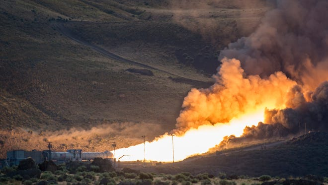 The second and final qualification motor test for the Space Launch System's booster is seen, Tuesday, June 28, 2016, at Orbital ATK Propulsion Systems test facilities in Promontory, Utah.