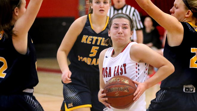 Wauwatosa East's Sydney Halstead spins beneath Kettle Moraine defenders at Wauwatosa East on Dec. 28.