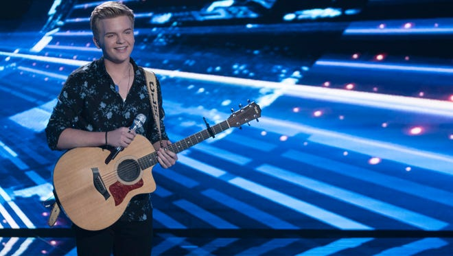 """AMERICAN IDOL - """"117 (Top 5)"""" - The stakes are high as the Top 5 finalists perform in hopes of winning AmericaÕs vote and making it through to the finals, as the search for AmericaÕs next superstar continues on its new home on AmericaÕs network, The ABC Television Network, SUNDAY, MAY 13 (8:00-10:01 p.m. EDT, 5:00-7:01 p.m. PDT). (ABC/Eric McCandless)CALEB LEE HUTCHINSON"""