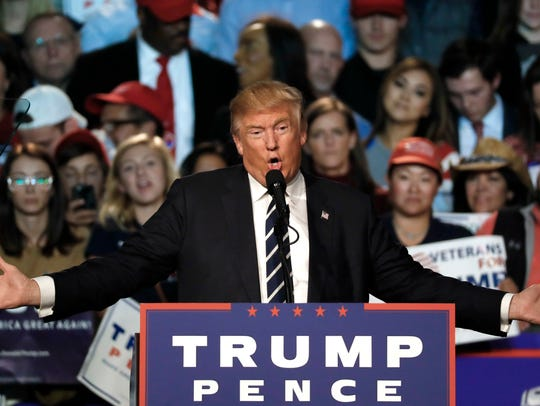 Donald Trump speaks at a campaign rally in Grand Rapids,