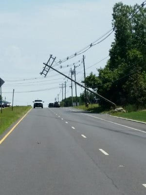 A tractor trailer knocked over a utility pole on Route 34 on July 27, police said.
