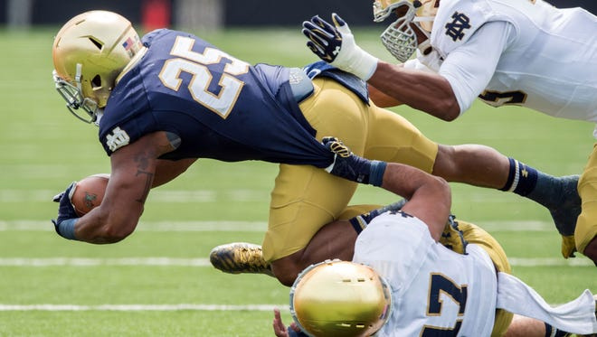 Notre Dame running back Tarean Folston is out for the season after suffering a torn MCL in the season opener against Texas.