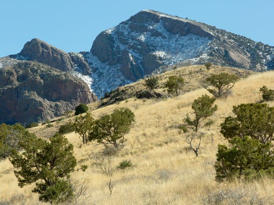 Snow is left on the Organ Mountains on Tuesday, January