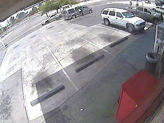The suspect left the scene in a white SUV, according