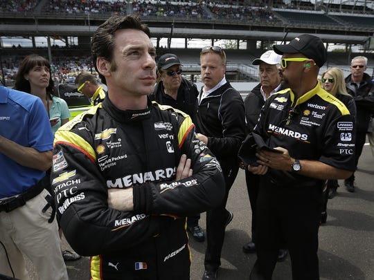 Simon Pagenaud following his qualifying run for the 100th running of the Indianapolis 500, May 21, 2016, at the Indianapolis Motor Speedway.