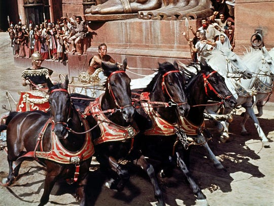 Charlton Heston, center, in the iconic chariot scene