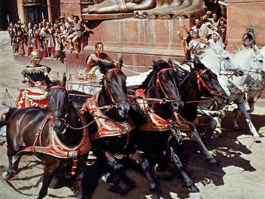 """Charlton Heston (center) takes the reins in the classic chariot scene in """"Ben-Hur."""""""