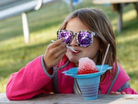 Six-year-old Alyssa Nierenberger of Eagle enjoys a