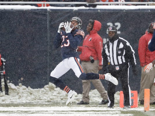 Chicago Bears cornerback Kyle Fuller (23) intercepts a Cleveland Browns quarterback DeShone Kizer (7) pass in the end zone in the first half of an NFL football game in Chicago, Sunday, Dec. 24, 2017. (AP Photo/Charles Rex Arbogast)