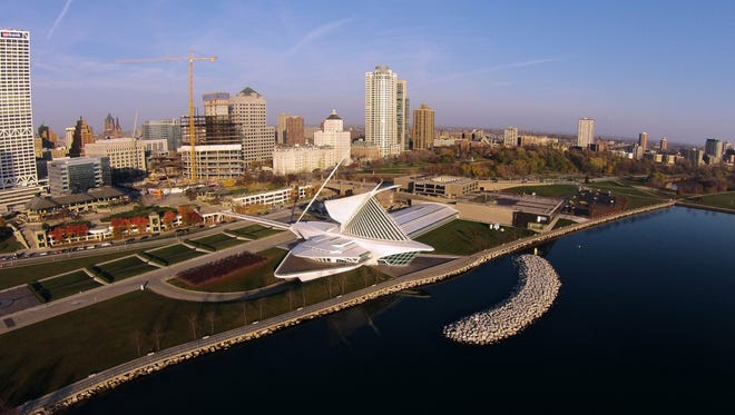 The Milwaukee Art Museum's new two-story addition faces Lake Michigan.