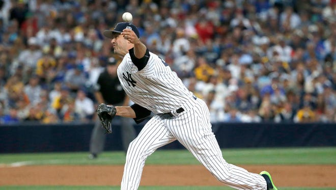 Andrew Miller of the Yankees throws during the 2016 All-Star Game, Tuesday, July 12. Miller had a sloppy outing but didn't allow any runs.