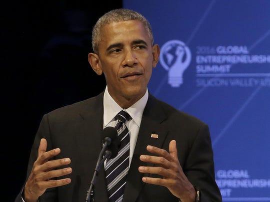 President Barack Obama speaks at the Global Entrepreneurship Summit in Stanford, Calif., Friday, June 24, 2016.