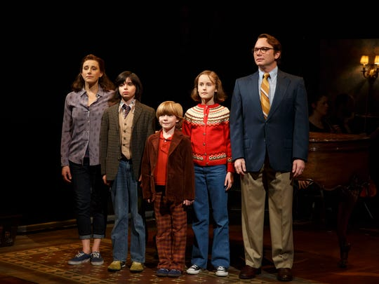 """From left to right, Judy Kuhn, Oscar Williams, Zell Steele Morrow, Sydney Lucas and Michael Cerveris in """"Fun Home."""""""