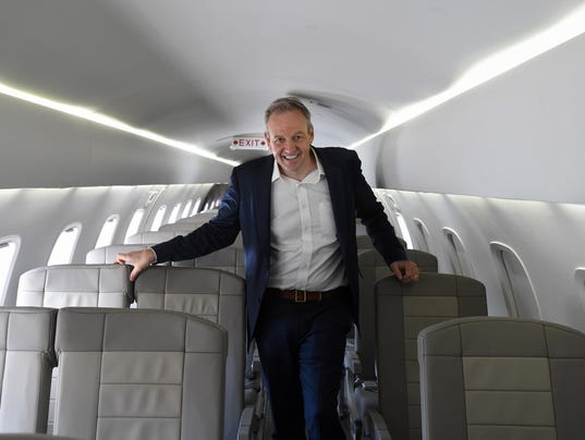 JetSuiteX CEO Alex Wilcox stands inside a JetSuiteX aircraft at Atlantic Aviation on June 7, 2018.
