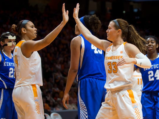 Tennessee's Alexa Middleton (33) high-fives teammate