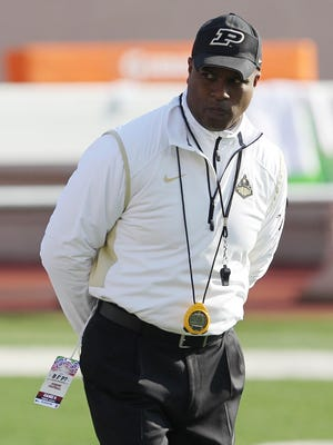 Purdue Boilermakers head coach Darrell Hazell during warm ups before the game against the Purdue Boilermakers at Memorial Stadium.
