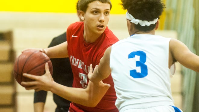 Vineland forward Anthony Giacalone (2) works up court against Buena at Buena Regional High School on Wednesday, February 15.