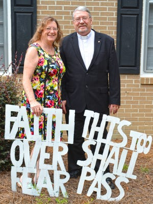 Rev. Ed Traxler Jr. and his wife Betty are excited to start their ministry in Barnwell. These signs, which were made by a friend using the fronts of old washing machines, adorn the front yard of the parsonage.