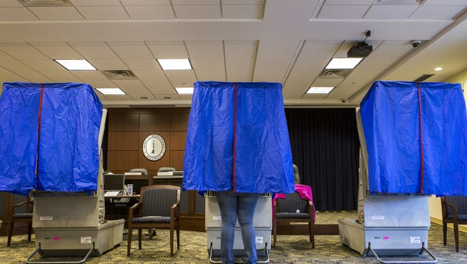 A voter casts a ballot in a voting booth in 2012.