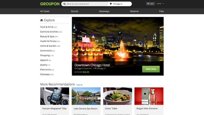 Groupon's redesigned website.