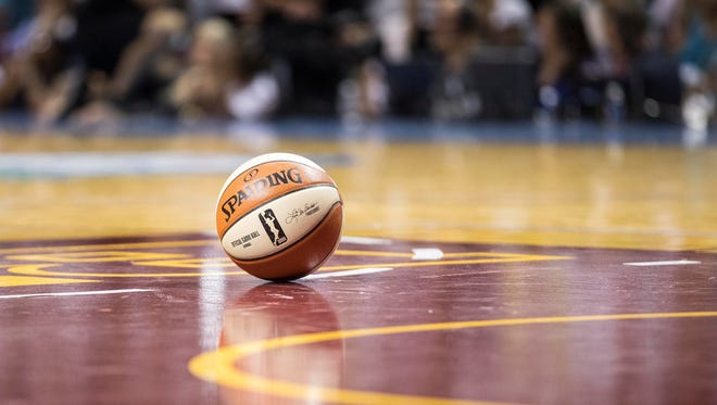 A general view of a basketball on the court during a timeout in the second half in a game between the Los Angeles Sparks and Minnesota Lynx in Game 1 of the WNBA Finals at Williams Arena. Mandatory Credit: Jesse Johnson-USA TODAY Sports