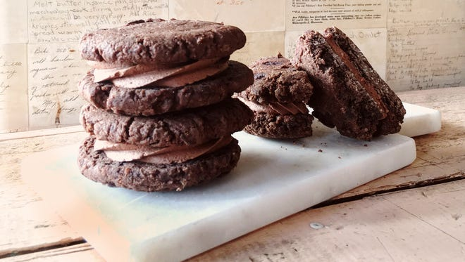 These chocolate sandwich cookies are a popular item at Main Grain Bakery in Stevens Point.