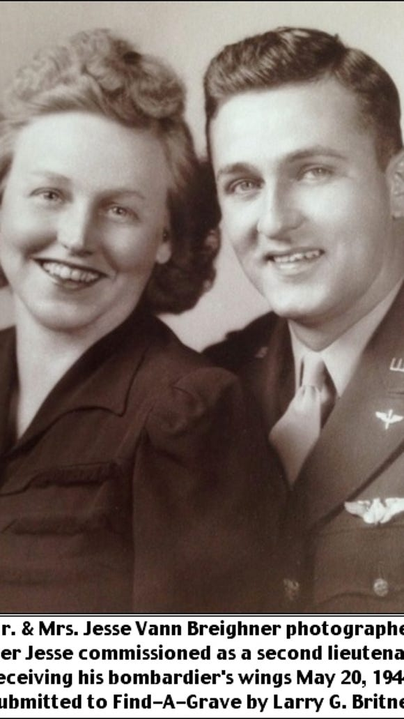 Mr. and Mrs. Jesse Vann Breighner photographed after Jesse commissioned as a second lieutenant; receiving his bombardier's wings on May 20, 1944.  (Submitted to Find-A-Grave by Larry G. Britner)
