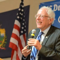 Sen. Bernie Sanders, I-Vt., speaks to the Democratic delegations from Vermont, New Hampshire and Maine at breakfast on Wednesday, July 27, 2016, the morning after Hillary Clinton won the presidential nomination.