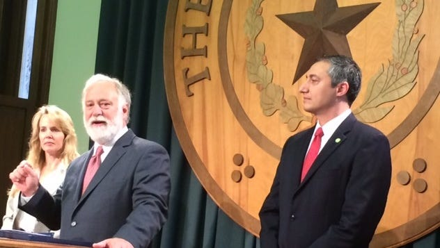State Sen. Kirk Watson and Rep, Giovanni Capriglione, right, push for open government legislation at the Texas Capitol on Tuesday, Jan. 3, 2017. Media attorney Laura Prather is at left.