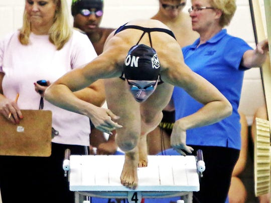 Mason's Ashley Volpenhein gets off the blocks first