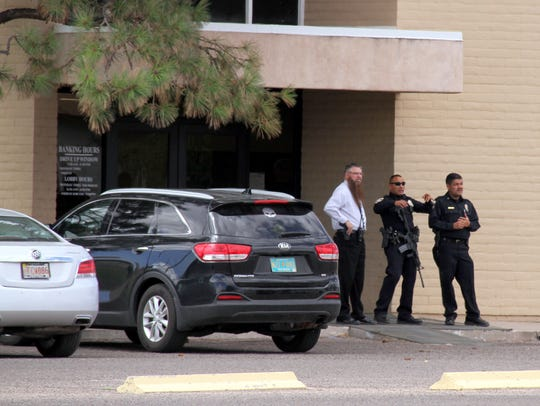 Deming Police secure one of the entrances to First