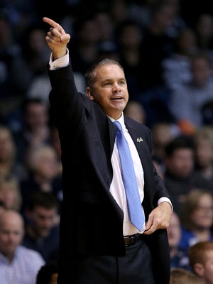 Butler Bulldogs head coach Chris Holtmann in the second half of their Big East basketball game Saturday, Jan 16, 2016, afternoon at Hinkle Fieldhouse. The Butler Bulldogs defeated the St. John's Red Storm 78-58.