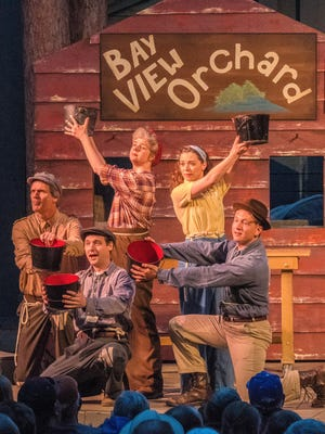 "Jeffrey Herbst, Chase Stoeger, Molly Rhode, Eva Nimmer and Isaiah Spetz perform in the musical ""Victory Farm."""