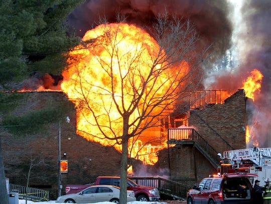 In this January 2015 file photo, a fireball rolls upward
