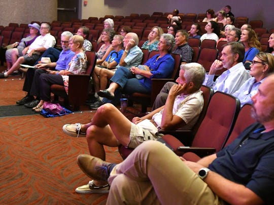 About 50 people attended Monday's candidate forum featuring Democrats Pam Dirschka, running for House District 50, and Mel Martin, running for Florida Senate District 14, at Eastern Florida State College's Cocoa campus Monday evening.