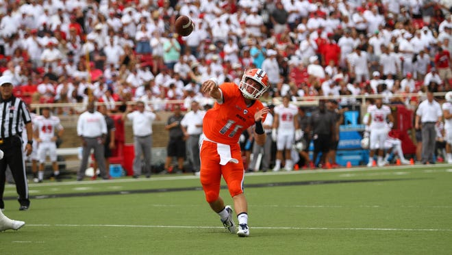 UTEP's Mack Leftwich attempted a pass earlier in the 2015 season against Texas Tech.