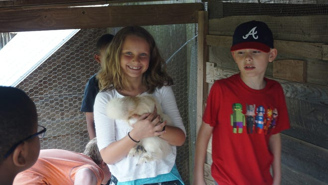 Donalyn Small's class at Estes Elementary School in South Asheville visits a rescue farm as part of their lesson on protecting animals.
