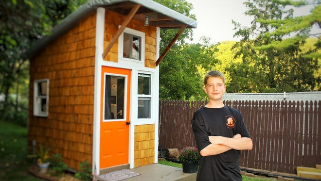 Luke Thill, 13, of Dubuque built his own tiny home, right in his parents' backyard.