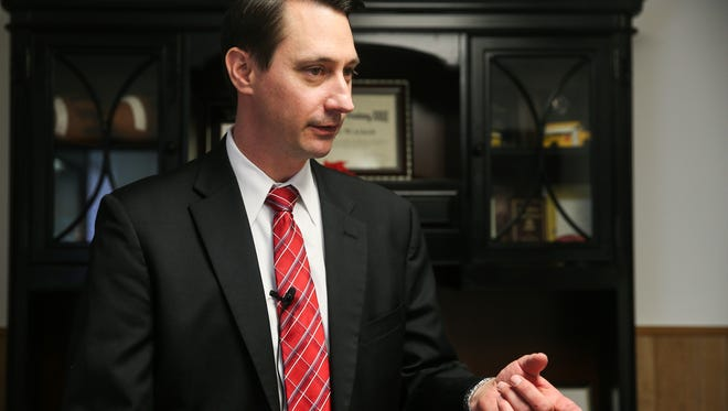 David Walker, Christoval superintendent, talks about armed teachers on campuses Monday, Feb. 26, 2018, at his office. His staff is trained in first aid as well as tactical training as part of the guardian program.