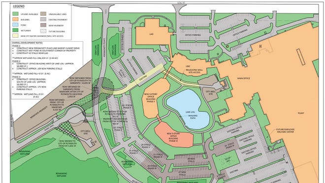 Phase three map expansion of the proposed expansion of Sargento Foods Inc.'s headquarters in Plymouth. The proposed project would create 300 new jobs.