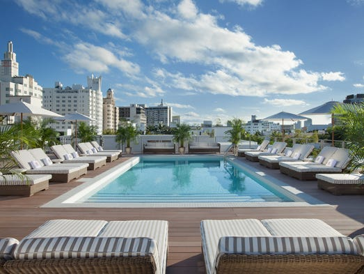 The pool at the new Redbury Hotel in South Beach.