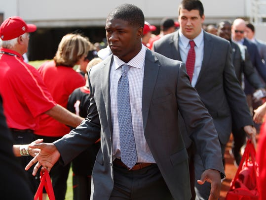 FILE - In this Sept. 2, 2017, file photo, Georgia junior linebacker Natrez Patrick (6) enters Sanford Stadium during the Dawg Walk before an NCAA college football game against Appalachian State, in Athens, Ga. Patrick could be facing a four-game suspension following his second arrest on marijuana charges in three years. Patrick is tied for third on the team with 17 tackles and his status for Saturday's game at Vanderbilt is not clear.(Joshua L. Jones/Athens Banner-Herald via AP, File)
