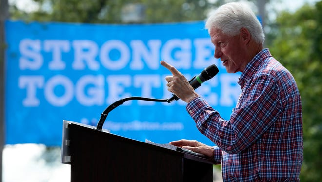 Former US President Bill Clinton speaks in support of Democratic presidential nominee, his wife, Hillary Clinton, during the AFL-CIO Labor Day Picnic at Coney Island amusement park in Cincinnati on Monday, Sept. 5, 2016.