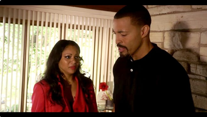 """Von (Timon Kyle Durrett) offers his mea culpa to a former flame (Brely Evans) in """"72 Hours."""""""