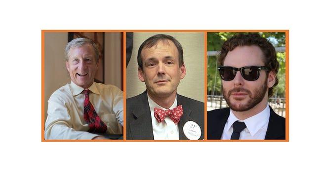 Political high-rollers Tom Steyer, Charles Munger Jr. and Sean Parker.