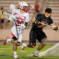 Senior Matt Donovan, pictured in May 2013 against Princeton in the Ivy League Tournament at Cornell, leads the Big Red with 35 goals and 18 assists for 53 points. Cornell and Princeton meet at 1 p.m. Saturday at Schoellkopf Field, with the Ivy League regular-season title on the line.
